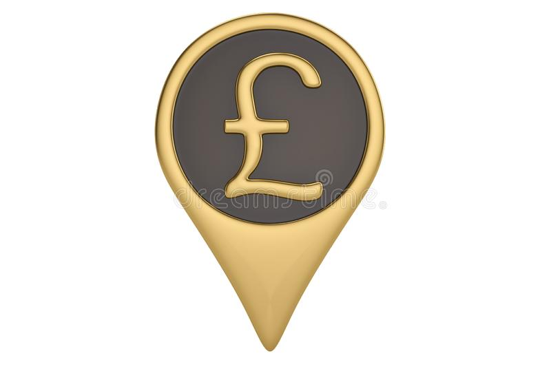 Gold British Pound pin icon on white backgroun.3D illustration. Gold British Pound pin icon on white backgroun. 3D illustration royalty free illustration