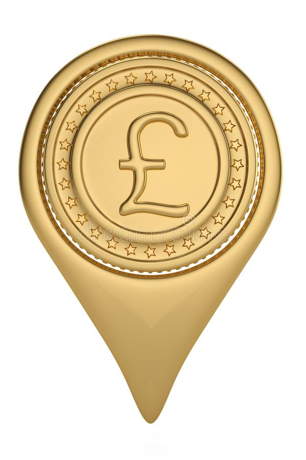 Gold British Pound pin icon on white backgroun.3D illustration. Gold British Pound pin icon on white backgroun. 3D illustration stock illustration