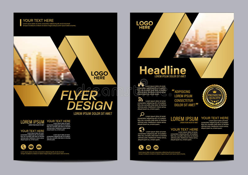 Gold Brochure Layout Design Template Annual Report Flyer Leaflet