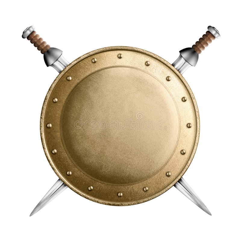Gold or bronze gladiator shield and two crossed. Medieval old round metal shield with two swords isolated on white royalty free stock photos