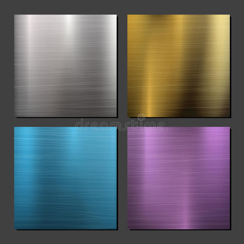 Gold, Bronze, Silver, Steel Metal Abstract Technology Background Set. Polished, Brushed Texture. Vector illustration. royalty free illustration