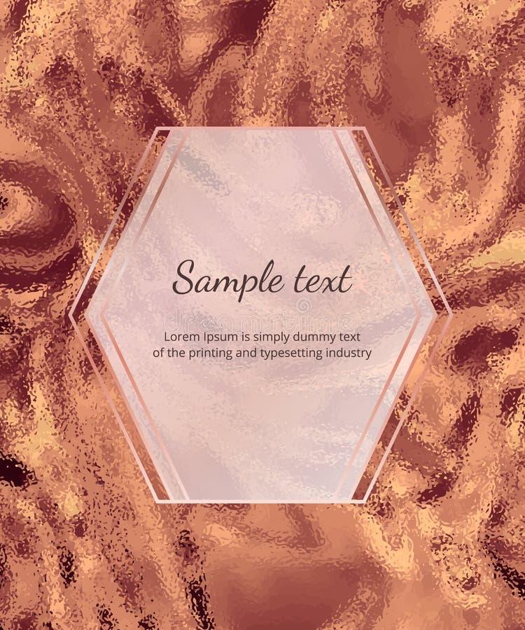 Gold bronze sparkle marble card. Geometric luxury design, frame with lines. Trendy metallic background for celebration, flyer, pla vector illustration