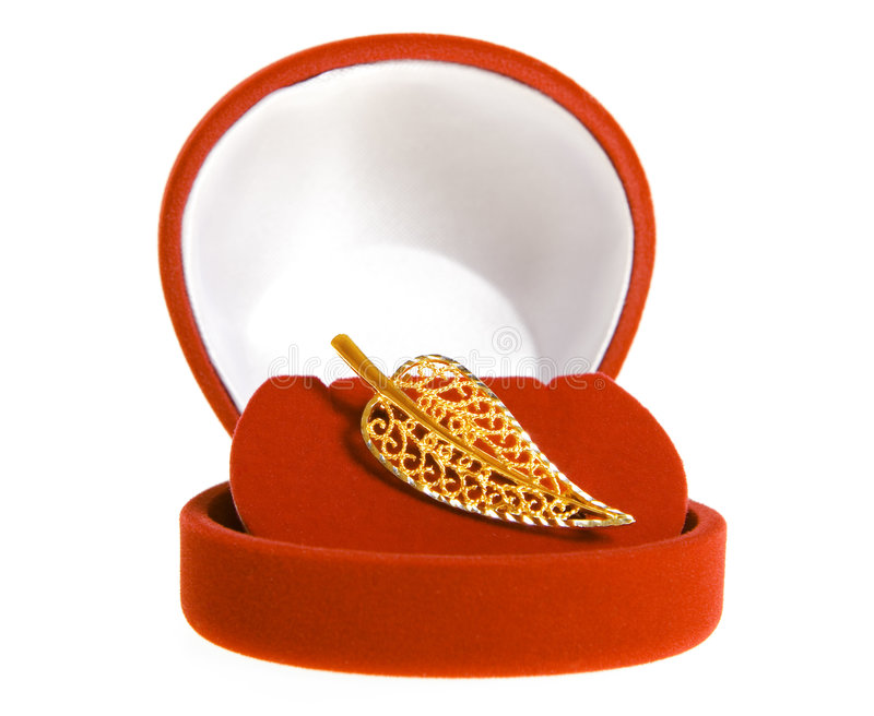 Gold brooch stock photo