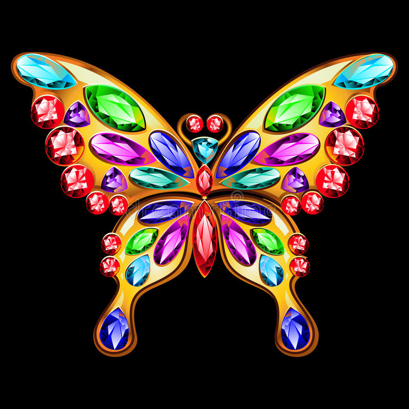 Gold brooch in the shape of a butterfly with gems. Butterfly jewelry made of gold and precious stones stock illustration