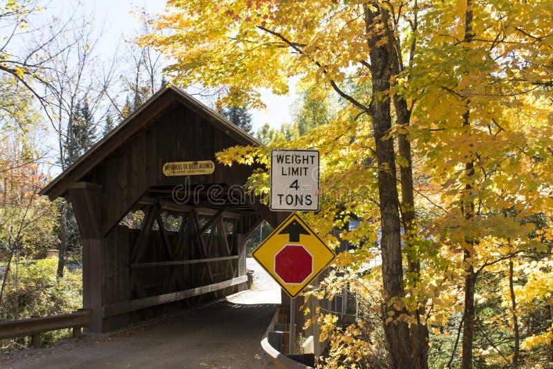 Gold Brooke bridge in Vermont Autumn stock images