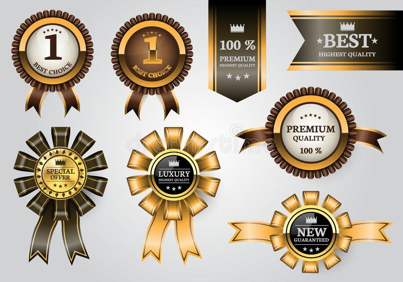 Gold brown labels ribbon quality award set collection on soft gray background design premium luxury vector. stock illustration