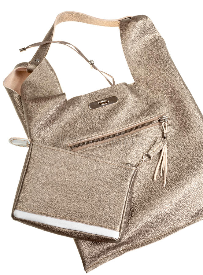 Download Gold Brown Soft Leather Woman's Bag Stock Image - Image: 26413379