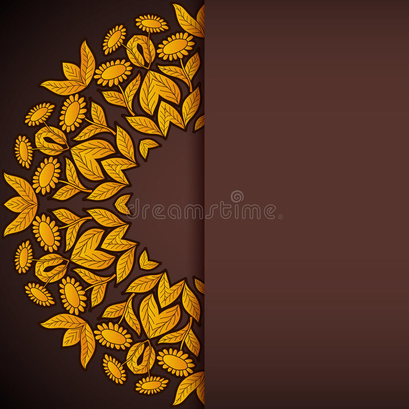 Gold and brown sunflowers round invitation stock illustration