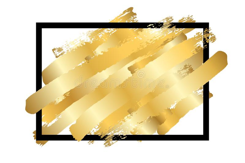 Gold brush in black square frame isolated white background. Golden stroke abstract texture. Fashion border. Gold foil vector illustration