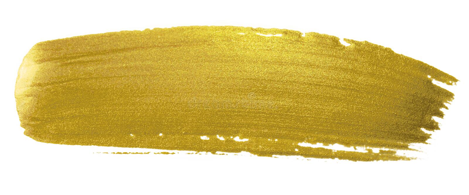 Gold brush paint stroke. Acrylic golden color smear stain on white background. Glitter gold banner with glossy texture for banner, stock photo