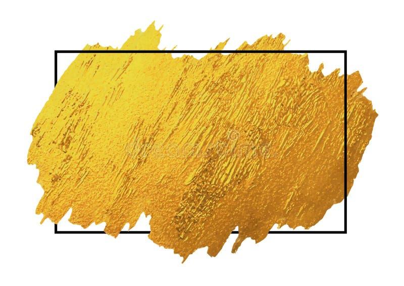 Gold brush stoke texture on white background with line frame. Gold brush stoke texture on white background with black line frame vector illustration royalty free illustration