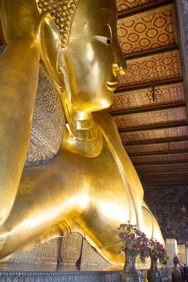 Gold Buddha. Lying Thailand Travel Tourism Background Temple Beauty Faith stock photography