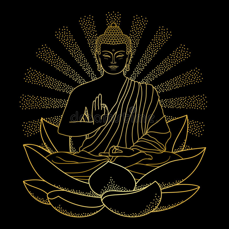Gold Buddha sitting on Lotus with beam of light vector illustration