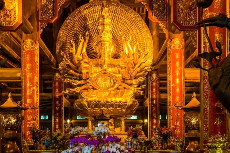 Gold Buddha Statue in the Bai Dinh Pagoda temple complex, Trang An, Ninh Binh. Gold Buddha Statue in the Bai Dinh Pagoda temple complex in Trang An, Ninh Binh royalty free stock photography