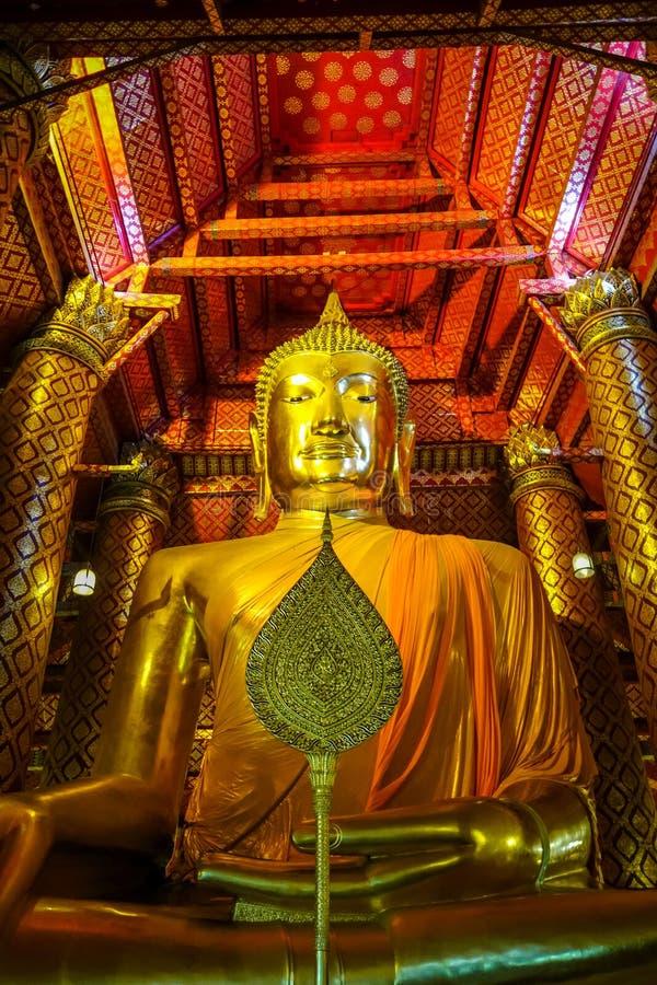 Gold Buddha statue, Wat Phanan Choeng, Ayutthaya, Thailand. Gold Buddha statue, Wat Phanan Choeng temple, Ayutthaya, Thailand stock image