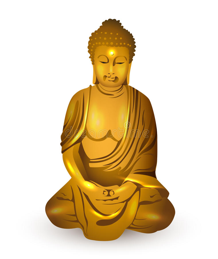 Gold buddha, vector. Gold statue of buddha on white background vector illustration