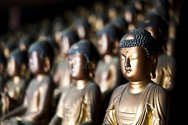 Gold Buddhas stock images