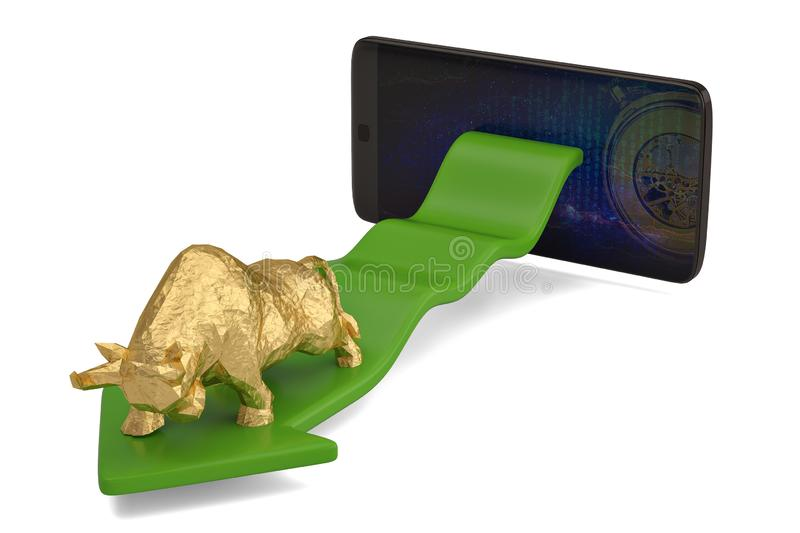 Gold bull with smart phone economical stock market chart.3D illustration. royalty free stock images