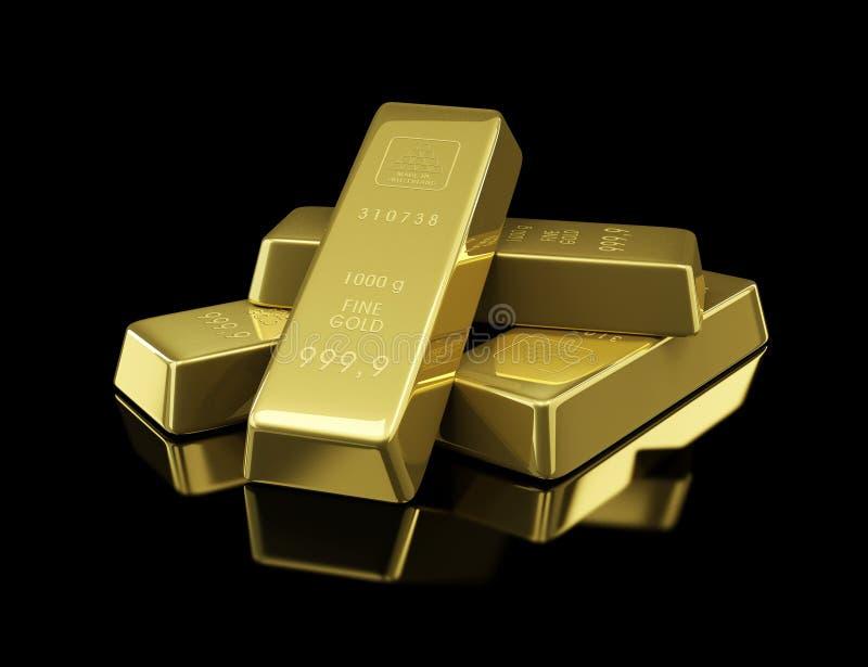 Gold bullion. On black background royalty free illustration