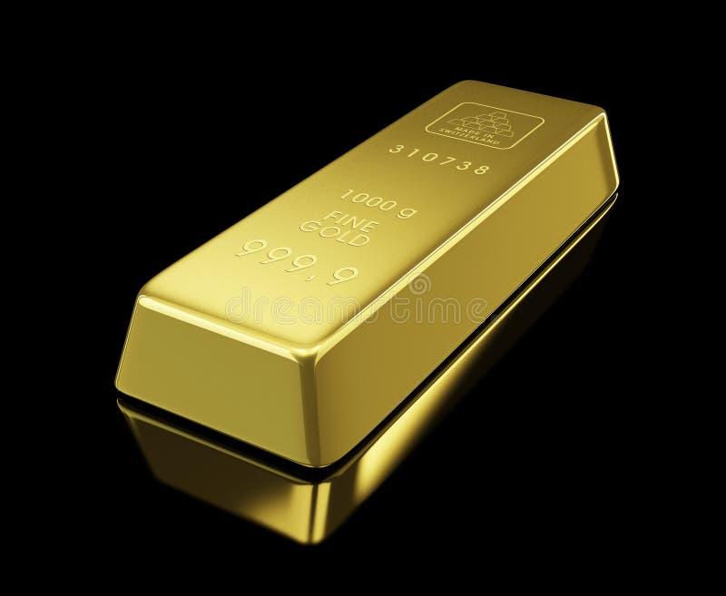 Gold bullion. On black background vector illustration