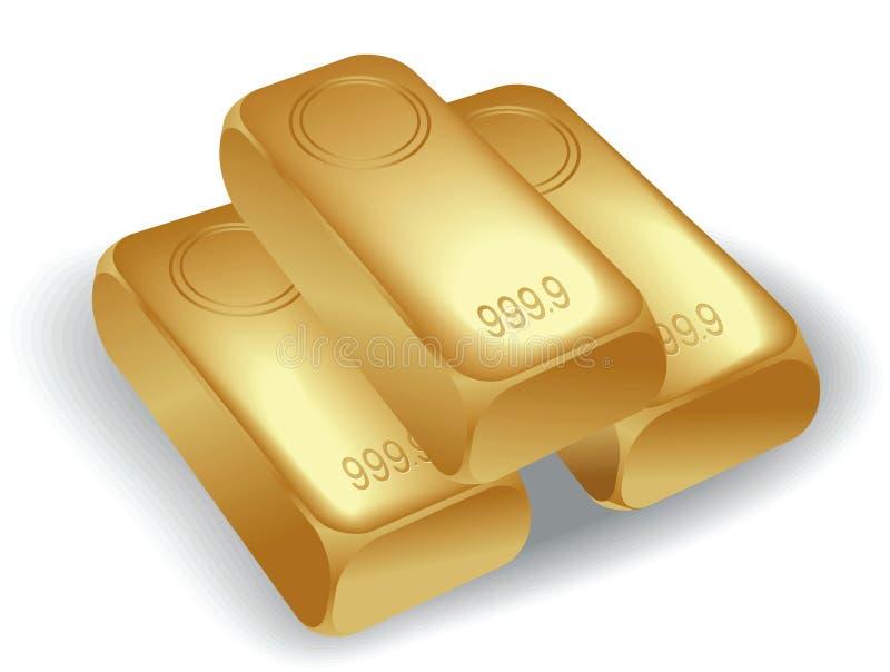 Gold bullion. Three gold bullion, vector illustration vector illustration