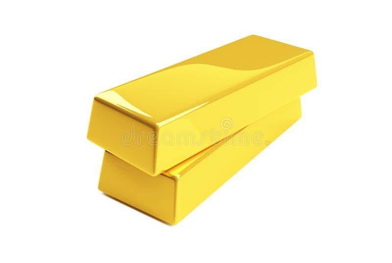 Gold bullion. Isolated on a white royalty free illustration