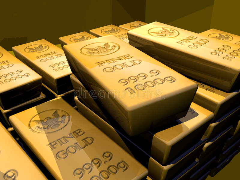 GOLD MONEY SAVING RETIREMENT FINANCIAL PLANNING WEALTH MANAGEMENT INVESTMENT FUND CAPITAL GROWTH STOCK. Close-up of gold bullion bars stacked in a dark vault stock illustration