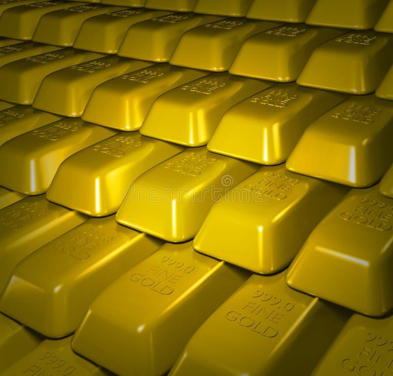 Gold bullion bars. Illustration of lots of Gold bullion bars stacked royalty free illustration