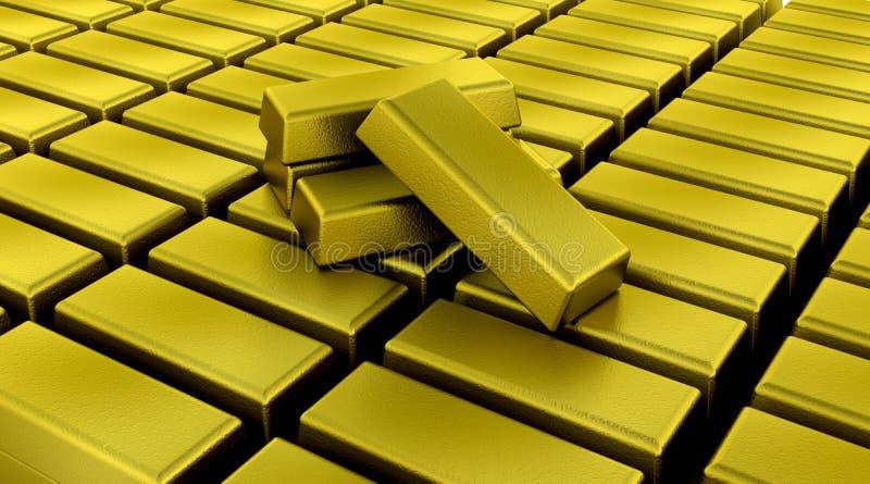 Gold bullion bars. 3d render of gold bullion bars stock illustration