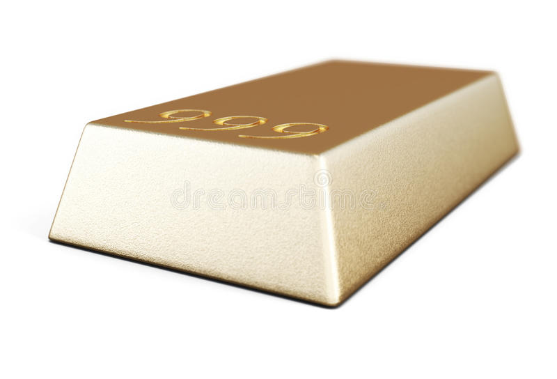 Gold bullion bars close-up. In a white. 3d illustration vector illustration