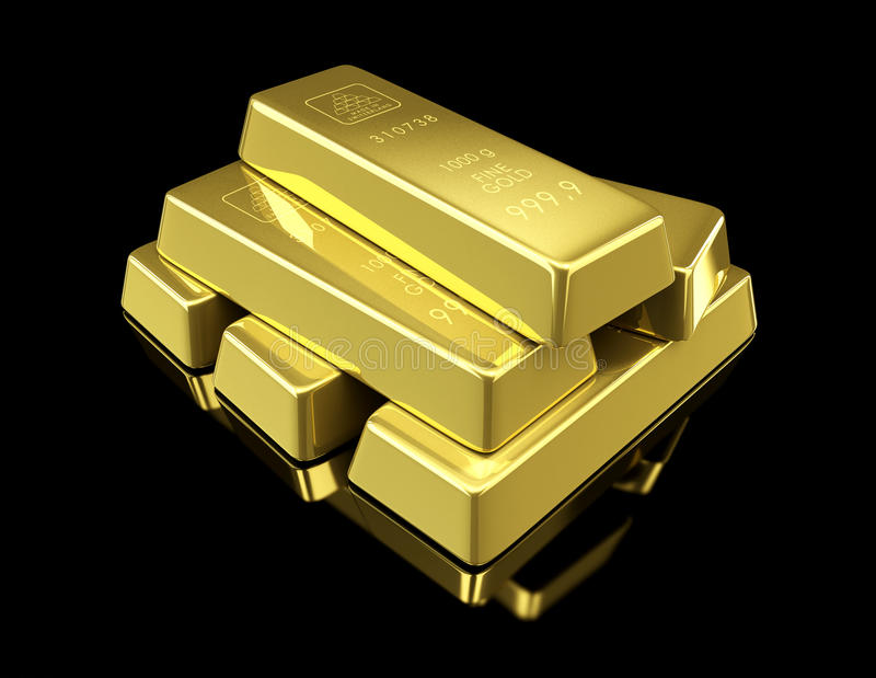 Gold bullion on black background. 3d Illustrations royalty free illustration