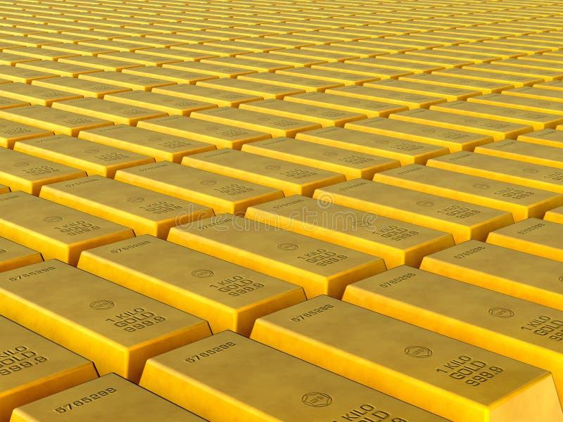 Gold Bullion. 3d design and gold bullion. Hundreds of gold bars royalty free illustration