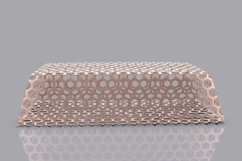 Gold bullion 3D. Render on gray background stock illustration