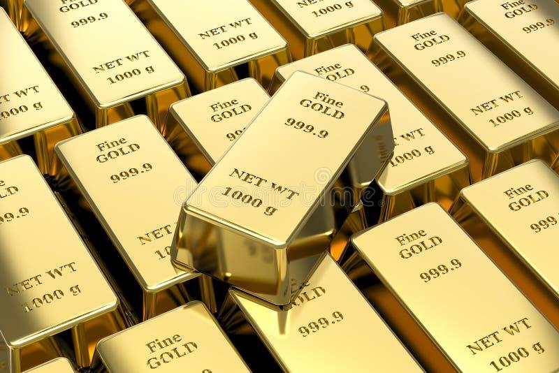 Gold bullion, gold bars. 3D gold bullion, gold bars royalty free illustration