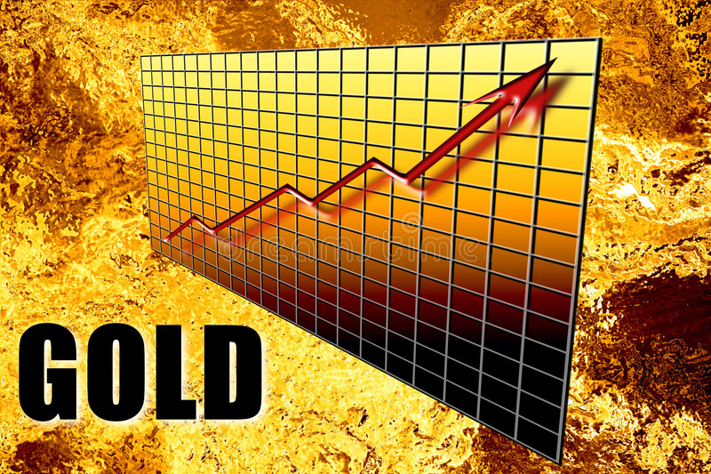 Gold Bullion Graph Arrow. Golden graph concept of gold bullion mineral wealth increasing over time in 3D with word overprinted. Liquid molten foil background stock illustration