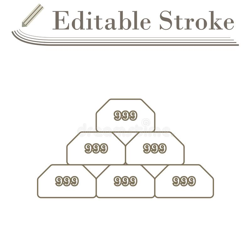 Gold Bullion Icon. Editable Stroke Simple Design. Vector Illustration vector illustration