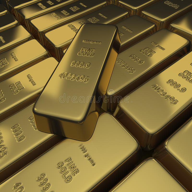 Gold bullion or ingots as a stack royalty free stock photo