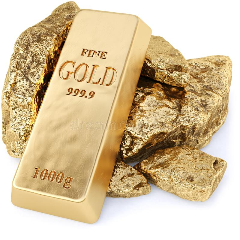 Gold bullion and gold nuggets stock illustration