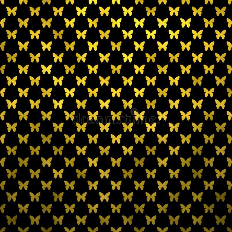 Gold Butterflies Polka Dot Metallic Faux Foil Black Background royalty free illustration