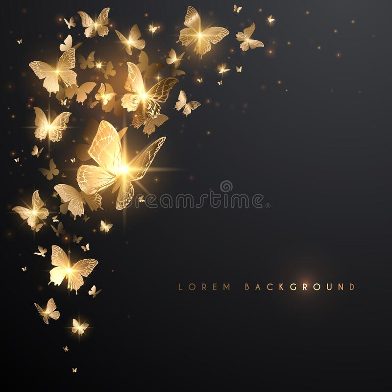 Free Gold Butterflies With Light Effect On Black Background Royalty Free Stock Image - 186033136