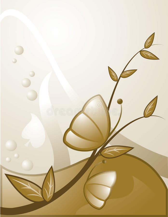 Gold butterfly background stock illustration