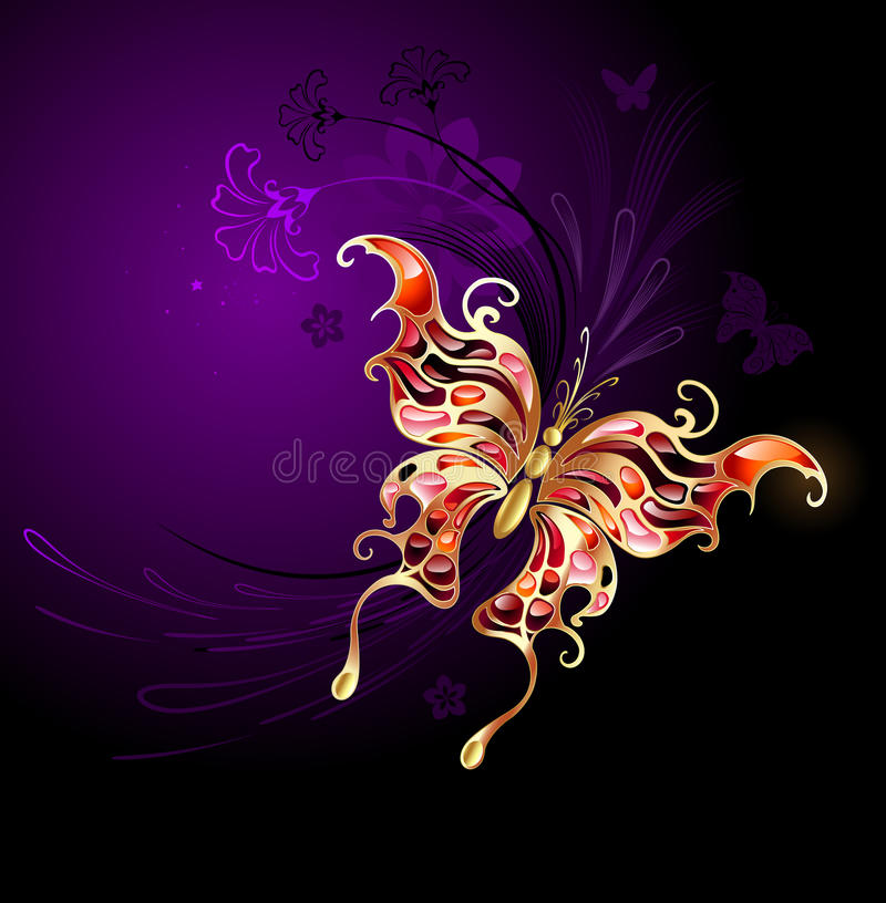 Gold butterfly on a purple background