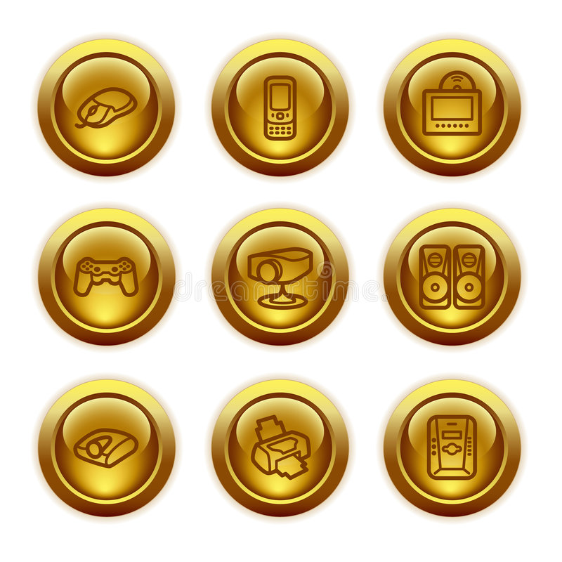 Gold button web icons, set 21 stock illustration