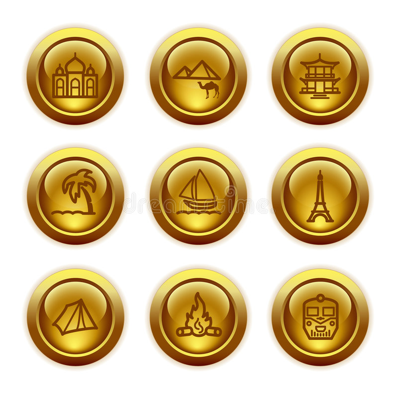 Gold button web icons, set 22 royalty free illustration