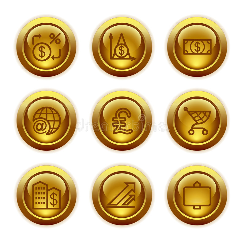 Download Gold Button Web Icons, Set 23 Stock Vector - Image: 6045678