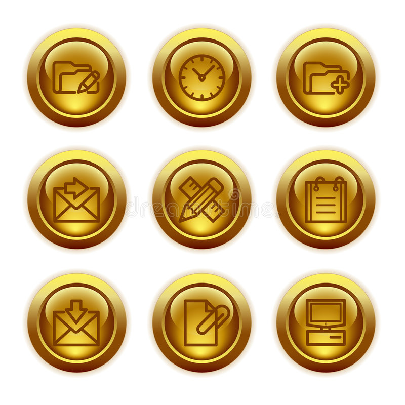 Download Gold Button Web Icons, Set 27 Stock Vector - Image: 6045862