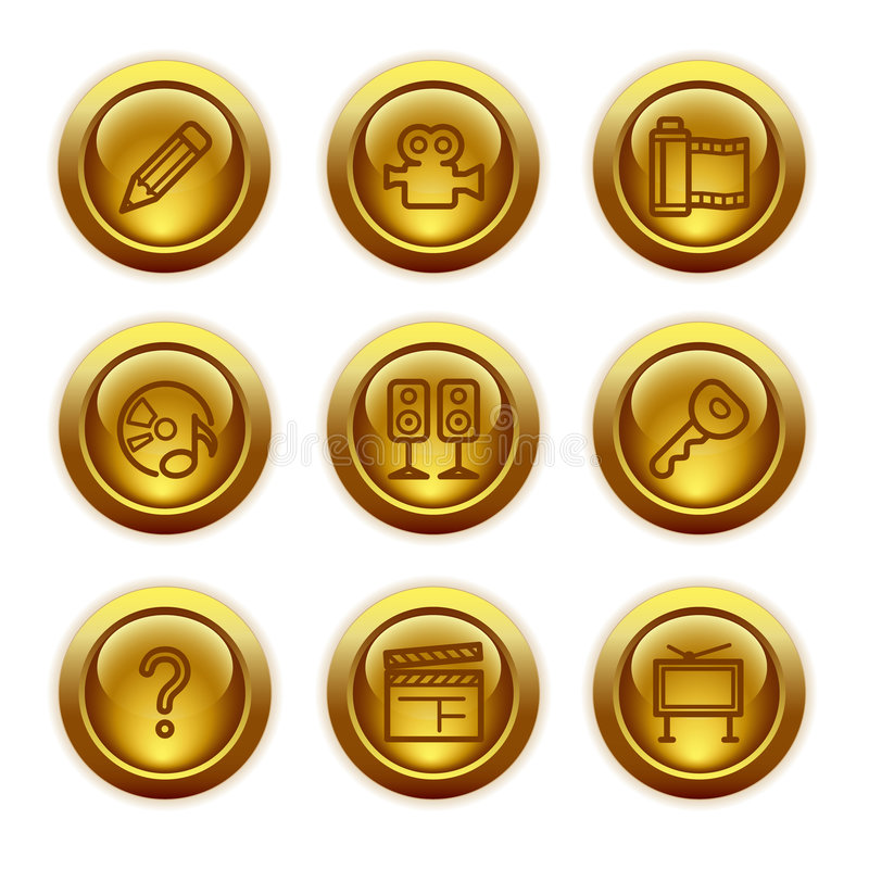 Free Gold Button Web Icons, Set 28 Royalty Free Stock Photos - 6045878