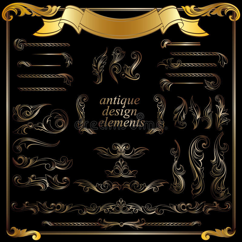 Gold calligraphic design elements, decoration royalty free illustration