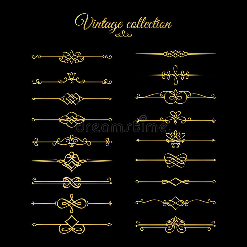 Gold calligraphic page dividers. Vector golden flourishes page decoration vignettes vector illustration