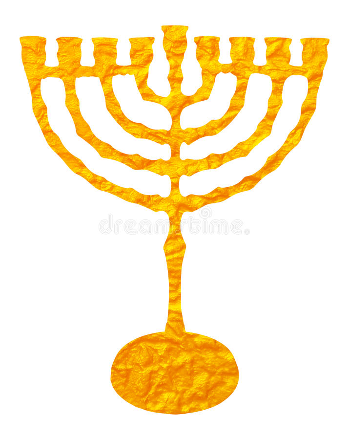 Gold candelabrum isolated on white background. Yellow candelabrum, Hanukkah on transparent background. Digital Illustration (detail) for printable, web and royalty free illustration